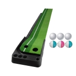 PGM Golf Putting Mat Push Rod Trainer 3m, with Three Soft Balls & Three Bicolor Balls & Auto Ball Return Fairway (Green)