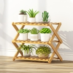 3-Layer Balcony Living Room Collapsible Solid Wood Flower Stand Potted Planting Shelves, Length: 50cm