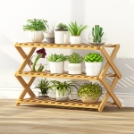 3-Layer Balcony Living Room Collapsible Solid Wood Flower Stand Potted Planting Shelves, Length: 70cm