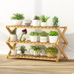 3-Layer Balcony Living Room Collapsible Solid Wood Flower Stand Potted Planting Shelves, Length: 80cm