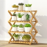 4-Layer Balcony Living Room Collapsible Solid Wood Flower Stand Potted Planting Shelves, Length: 50cm