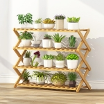 4-Layer Balcony Living Room Collapsible Solid Wood Flower Stand Potted Planting Shelves, Length: 80cm