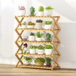 5-Layer Balcony Living Room Collapsible Solid Wood Flower Stand Potted Planting Shelves, Length: 70cm