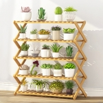 5-Layer Balcony Living Room Collapsible Solid Wood Flower Stand Potted Planting Shelves, Length: 80cm