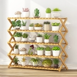 5-Layer Balcony Living Room Collapsible Solid Wood Flower Stand Potted Planting Shelves, Length: 100cm