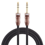 EMK 6.35mm Male to Male 4 Section Gold-plated Plug Cotton Braided Audio Cable for Guitar Amplifier Mixer, Length: 2m(Black)