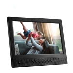 10.1 inch Ultra-thin Front Speaker With Human Body Induction Electronic Photo Album with LED Breathing Light Digital Photo Frame (Black)