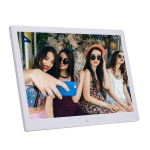 New 14-inch Digital Photo Frame Electronic Photo Frame Ultra-narrow Side Support 1080P Wall-mounted Advertising Machine(White)