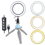 PULUZ 4.6 inch USB 3 Modes Dimmable LED Ring On-Camera Video Lights  with Cold Shoe Tripod Ball Head