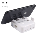WLX-856 5V (2.4A + 4 x 1A) 5 Ports Portable USB Charger Station with Phone Holder Function, EU Plug, Cable Length: 1m(White)