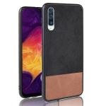Shockproof Color Matching Denim PC + PU + TPU Protective Case for Galaxy A50 (Black)