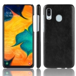 Shockproof Litchi Texture PC + PU Protective Case for Galaxy A40 (Black)