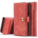 Retro Magnetic Detachable Horizontal Flip Leather Case for Galaxy S10 Plus, with Card Slots & Wallet & Photo Frame (Red)