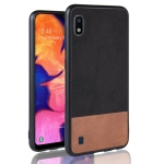 Shockproof Color Matching Denim PC + PU + TPU Case for Galaxy A10 (Black)
