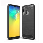 Brushed Texture Carbon Fiber TPU Case for Galaxy A20e (Black)