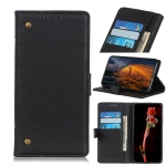 Copper Buckle Retro Crazy Horse Texture Horizontal Flip Leather Case for Galaxy A60 , with Holder & Card Slots & Wallet (Black)