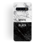 Black and White Text Matte Semi-transparent TPU Marble Mobile Phone Case for Galaxy S10
