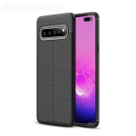 Litchi Texture TPU Shockproof Case for Galaxy S10 5G (Black)