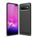 Brushed Texture Carbon Fiber TPU Case for Galaxy S10 5G (Black)