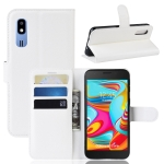 Litchi Texture Horizontal Flip Leather Case for Galaxy A2 Core, with Wallet & Holder & Card Slots (White)