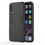 Shockproof PC + TPU Case for Galaxy A50, with Holder (Black)