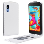 R64 Texture Vertical Flip Leather Case for Galaxy A2 Core , with Card Slots & Photo Frame (White)