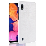Shockproof Crocodile Texture PC + PU Case for Galaxy A10 (White)