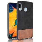 Shockproof Color Matching Denim PC + PU + TPU Case for Galaxy A20 (Black)