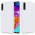 Solid Color Liquid Silicone Dropproof Protective Case for Galaxy A70 (White)
