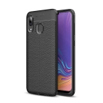 Litchi Texture TPU Shockproof Case for Galaxy A40 (Black)