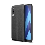 Litchi Texture TPU Shockproof Case for Galaxy A70 (Black)