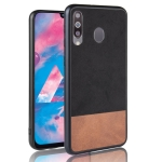 Shockproof Color Matching Denim PC + PU + TPU Case for Galaxy M30 (Black)
