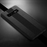 SULADA Anti-slip TPU + Handmade Leather Case for Galaxy S10 (Black)