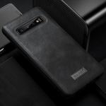SULADA Shockproof TPU + Handmade Leather Case for Galaxy S10(Black)