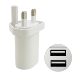 MF-05002000 5V 2.4A Dual USB Wall Charger Travel Charger, UK Plug (White)