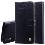 Business Style Oil Wax Texture Horizontal Flip Leather Case for Galaxy M10, with Holder & Card Slots & Wallet (Black)