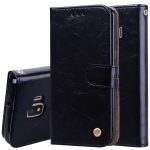 Business Style Oil Wax Texture Horizontal Flip Leather Case for Galaxy J2 Core, with Holder & Card Slots & Wallet (Black)