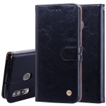 Business Style Oil Wax Texture Horizontal Flip Leather Case for Galaxy M30, with Holder & Card Slots & Wallet (Black)