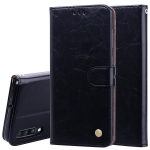 Business Style Oil Wax Texture Horizontal Flip Leather Case for Galaxy A70, with Holder & Card Slots & Wallet (Black)