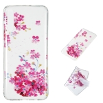 Red Plum Blossom Pattern Highly Transparent TPU Protective Case for Galaxy A70