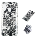 Black Flower Pattern Highly Transparent TPU Protective Case for Galaxy A40