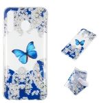 Blue Butterfly Pattern Highly Transparent TPU Protective Case for Galaxy M30
