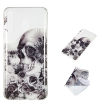 Black Flower Skull Pattern Highly Transparent TPU Protective Case for Galaxy M30
