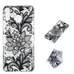 Black Flower Pattern Highly Transparent TPU Protective Case for Galaxy M20