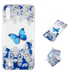 Blue Butterfly Pattern Highly Transparent TPU Protective Case for Galaxy M10