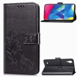 Lucky Clover Pressed Flowers Pattern Leather Case for Galaxy M10, with Holder & Card Slots & Wallet & Hand Strap (Black)
