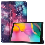 Custer Texture Galaxy Pattern Colored Drawing Horizontal Flip Leather Case for Galaxy Tab A 10.1 2019, with Three-folding Holder & Sleep / Wake-up Function