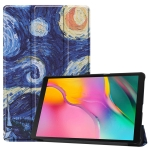 Custer Texture Starry Sky Pattern Colored Drawing Horizontal Flip Leather Case for Galaxy Tab A 10.1 2019, with Three-folding Holder & Sleep / Wake-up Function