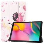 Custer Texture Butterfly Fairy Girl Pattern Colored Drawing Horizontal Flip Leather Case for Galaxy Tab A 10.1 2019, with Three-folding Holder & Sleep / Wake-up Function