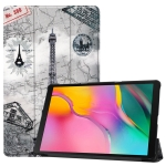 Custer Texture Retro Tower Pattern Colored Drawing Horizontal Flip Leather Case for Galaxy Tab A 10.1 2019, with Three-folding Holder & Sleep / Wake-up Function